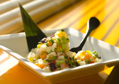 Ceviche … Tilapia marinated in Lime Juice, Celery, Cilantro, Serrano Chiles, with Tomatoes and Tomatillos